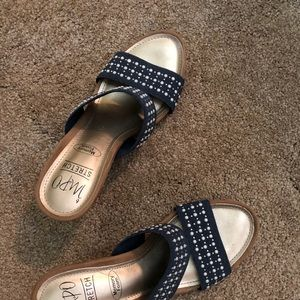 """Wedge Sandals, 2"""" wedge, Navy, size 6.5"""